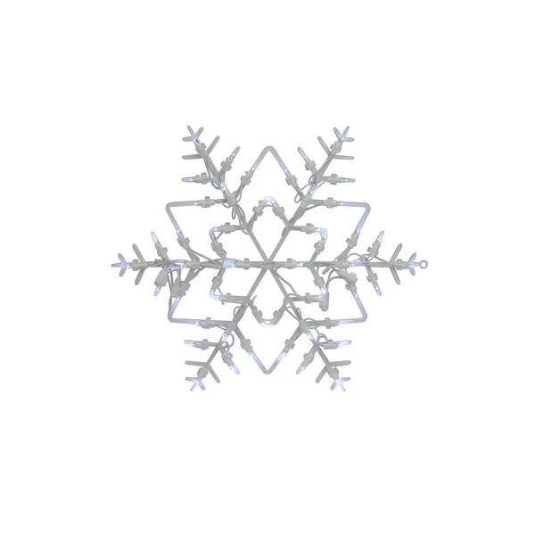 """18"""" LED Lighted Snowflake Christmas Window Silhouette Decoration (Pack of 4) - WHITE"""