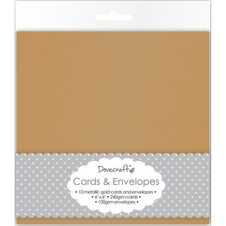 "Dovecraft Cards W/Envelopes 6""X6"" 8/Pkg-Metallic Antique Gold"