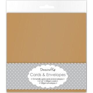 "Dovecraft Cards W/Envelopes 6""X6"" 8/Pkg-Metallic Antique Gold"