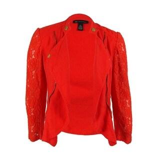 INC International Concepts Women's 100% Linen Lace Trim Jacket - L