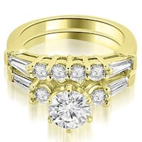 1.85 cttw. 14K Yellow Gold Baguette and Round Diamond Bridal Set