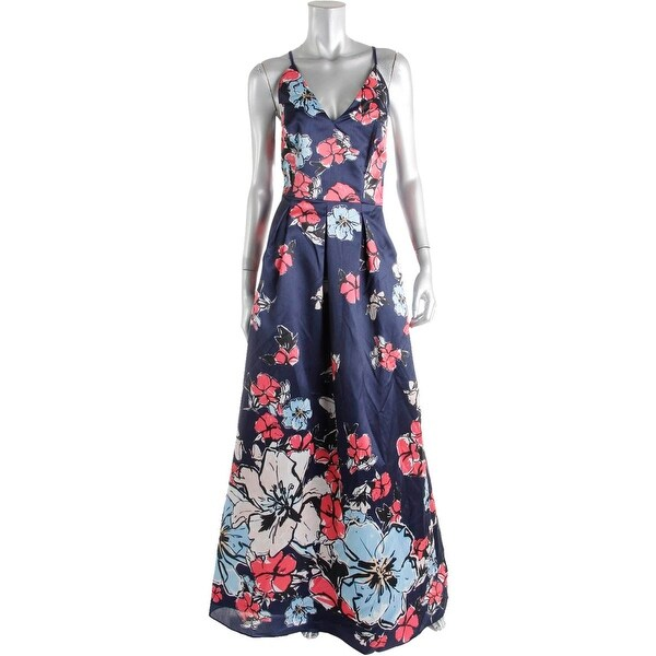Phoebe Womens Formal Dress Floral Print Spaghetti Straps
