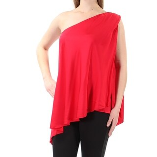 TRINA TURK $278 Womens New 1025 Red Asymetrical Neckline Sleeveless Top M B+B