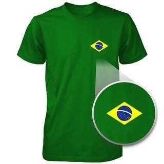 Brazil Flag Pocket Printed Green Unisex Short Sleeve Tee for Brazilian