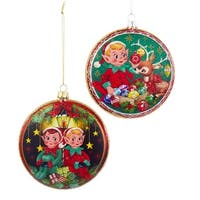 """Pack of 6 Round Glass Elf and Reindeer Disc Christmas Ornaments 4"""" - green"""