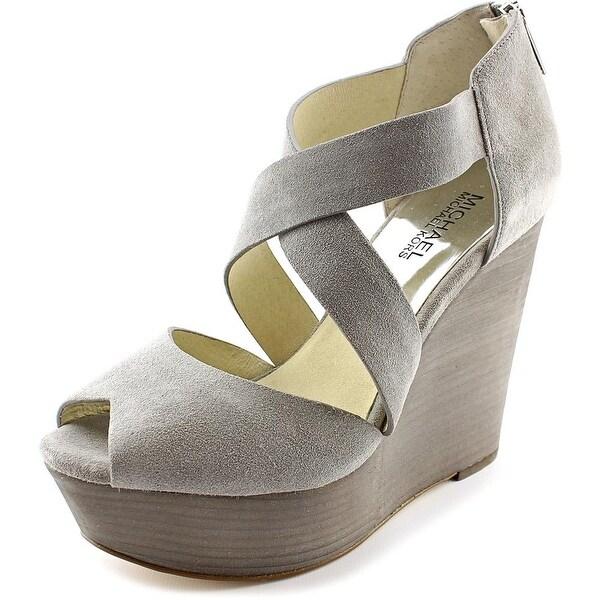 Michael Michael Kors Ariel Wedge Women Open Toe Suede Gray Wedge Heel