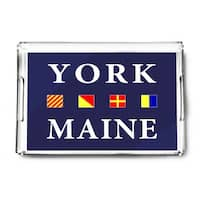 York, Maine - Nautical Flags (Acrylic Serving Tray)
