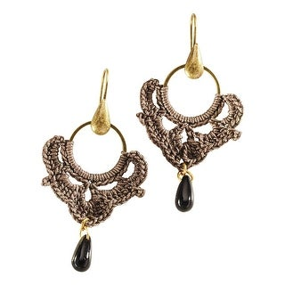 Women's Crochet Hoop Brass Drop Earrings - Gray