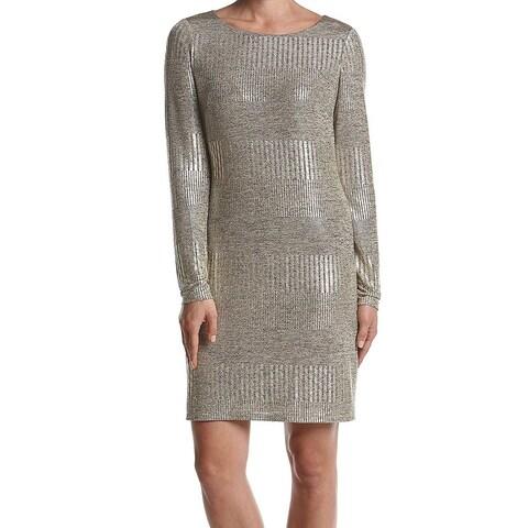 Jessica Howard Gold Womens Size 14 Metallic Long Sleeve Sheath Dress