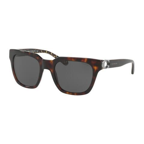 Coach Square HC8240F Women DARK TORTOISE Frame DARK GREY SOLID Lens Sunglasses
