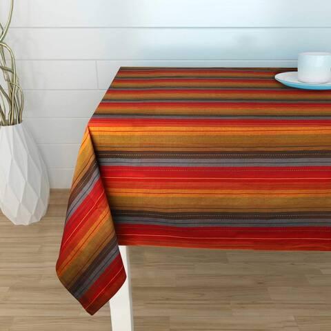 Cuisine Stripes Red Multi Color Table Cloth - 100% Cotton