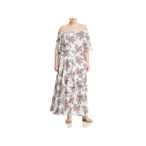 Glamorous Womens Plus Maxi Dress Floral Print Off-The-Shoulder