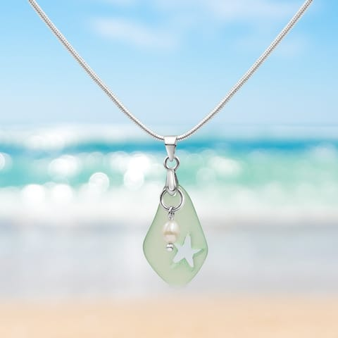 Mint Green Sea Glass and Freshwater Pearl Necklace