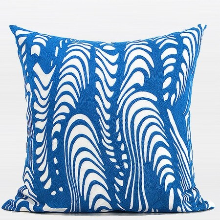 "G Home Collection Luxury Blue Warp Chevron Embroidered Pillow 20""X20"""