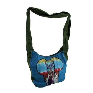 Painted Elephant Embroidered Cotton Crossbody Bag - Blue