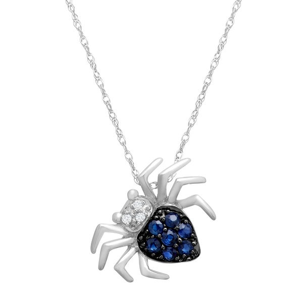 1/4 ct Natural Sapphire Spider Pendant with Diamonds in 14K White Gold - Blue