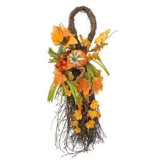 Fall Leaves, Berries and Pumpkin Artificial Thanksgiving Teardrop Door Swag - 26-Inch - Brown