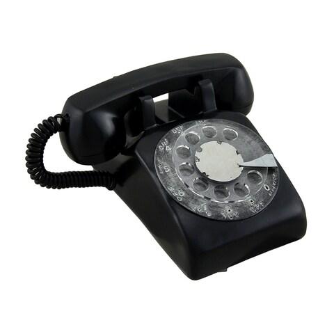 Black Retro Rotary Dial Telephone Coin Bank