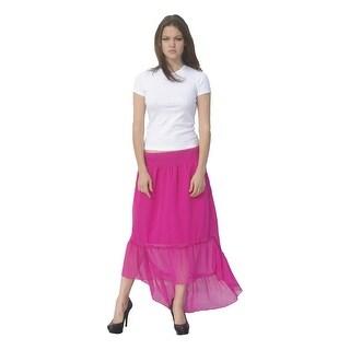Deep Blue Womens Fuchsia Solid Color Ruffle Hi-Low Hem Cover-Up Skirt