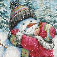 """6""""X6"""" 18 Count - Gold Petite A Kiss For Snowman Counted Cross Stitch Kit"""