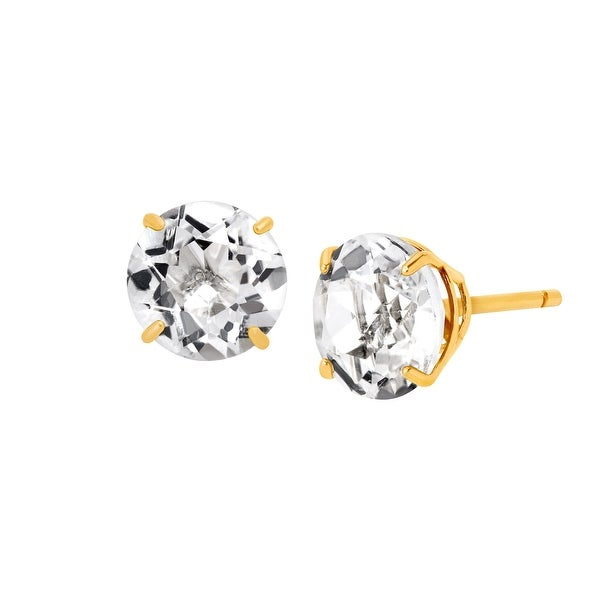 2 1 8 Ct Natural White Topaz Round Cut Stud Earrings In 10k Gold