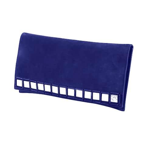 Tomasini Blue Mirror Embellished Clutch