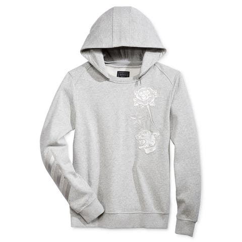 GUESS Mens Roy Embroidered Hoodie Sweatshirt, Grey, X-Large