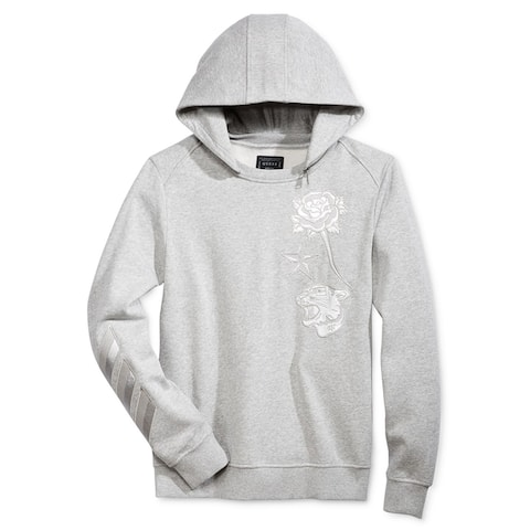 GUESS Mens Roy Fleece Hoodie Sweatshirt, Grey, Small
