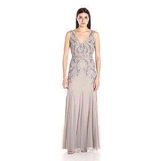 Adrianna Papell Women's V Neck Long Beaded Gown