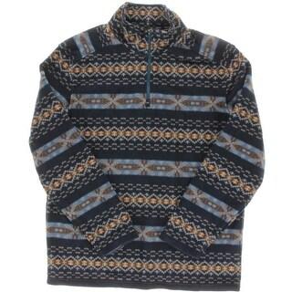 G.H. Bass & Co. Mens Fleece Fair Isle 1/4 Zip Pullover - L