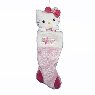 Hello Kitty Plush Head Stocking With Snowflakes