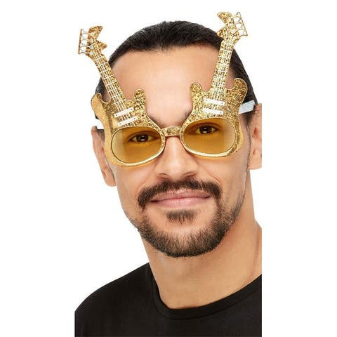Electric Guitar Glasses - Gold - One Size Fits Most