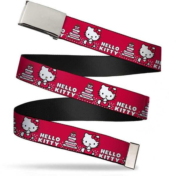 Blank Chrome Bo Buckle Hello Kitty W Cake Red Webbing Web Belt