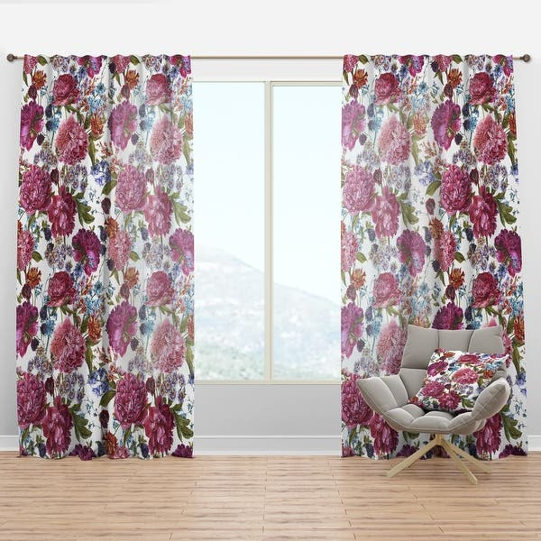 Black Out Fabric Sheer Floral Print Garden Art Single or Double Panel Nature Decor Floral Home Decor Peonies Window Curtain