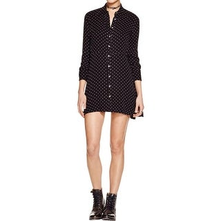 Free People Womens This Town Button-Down Top Long Sleeves Polka Dot