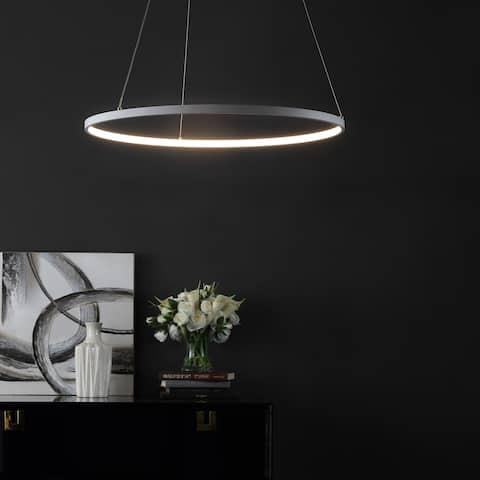 "SAFAVIEH Lighting 74-inch Porta Modern White Adjustable LED Pendant - 24"" W x 24"" L x 12-74"" H"