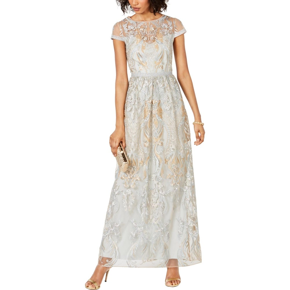 Adrianna Papell Womens Evening Dress Mesh Embroidered - Ice Blue Multi - 6