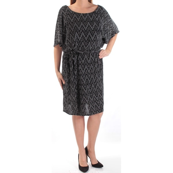 SLNY Womens Silver Glitter Chevron Kimono Sleeve Scoop Neck Above The Knee  Shift Evening Dress Plus Size: 14W