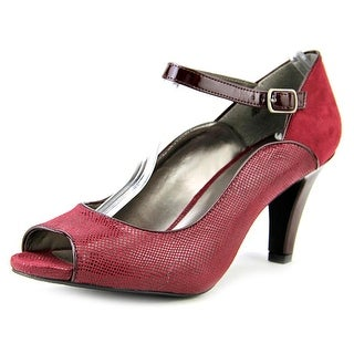Karen Scott Nadda Women Peep-Toe Synthetic Burgundy Heels