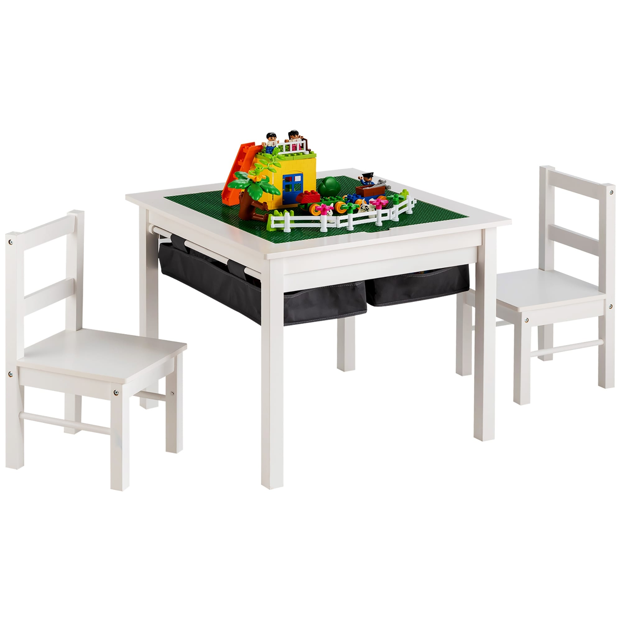 Picture of: Shop Costway 5 In 1 Kids Activity Table And 2 Chairs Set W Storage Building Overstock 32360661