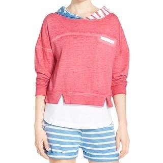 Honeydew NEW Pink Women Medium M Hooded Flag Print Cropped Sleepshirt