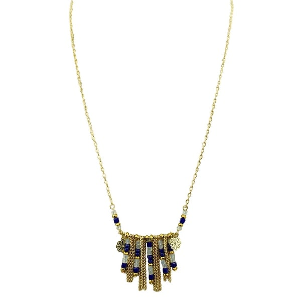 max & MO Small Aztec Style Bead Necklace - gold-bronze-blue