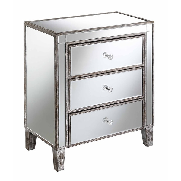 Silver Orchid Olivia 3-drawer Mirrored End Table. Opens flyout.