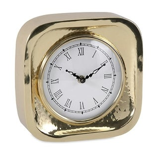 """7"""" Elegant Contemporary Gold Brass Desk Clock with Roman Numeral Display"""