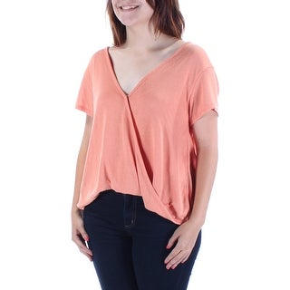 FREE PEOPLE $58 Womens New 1204 Coral V Neck Sleeveless Faux Wrap Sweater S B+B