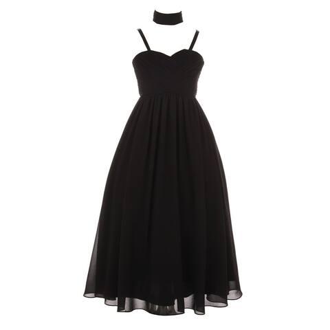 Girls Black Pleated Top Shawl Elegant Chiffon Junior Bridesmaid Dress