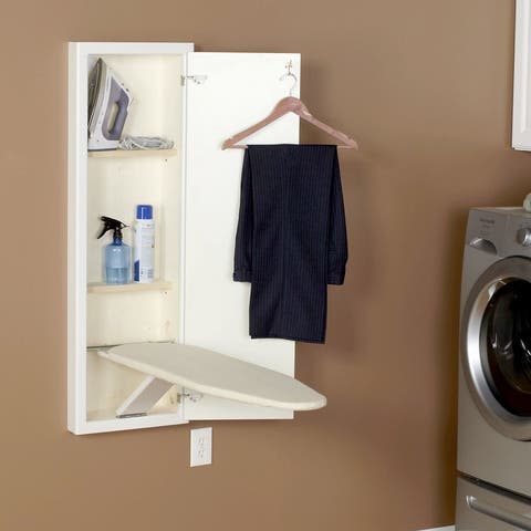 Household Essentials StowAway In-Wall Ironing Board Cabinet with Built In Ironing Board White
