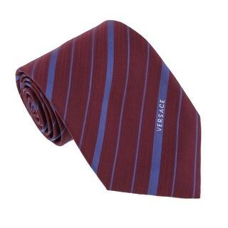 Versace Bordeaux/Light Blue Woven Fine Multi Stripe Tie