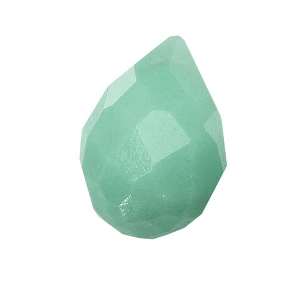 Aqua Green Amazonite Gemstone Faceted Teardrop Briolette Beads 12x8mm (4)