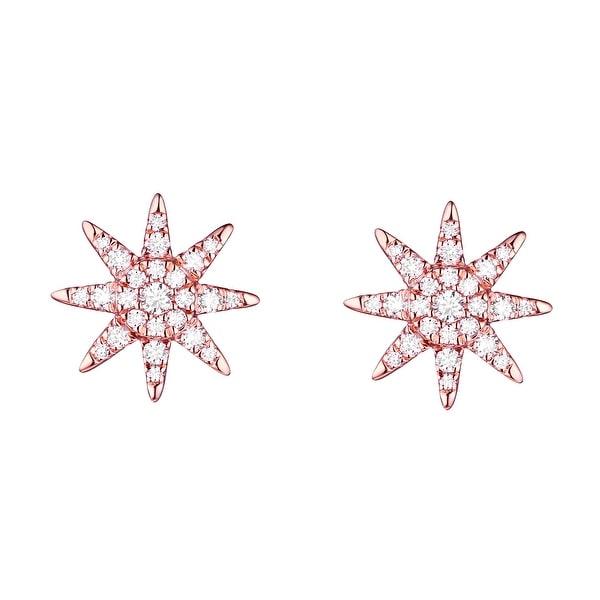 Beautiful 0.38 Carat G-H/SI1 Round Brilliant Natural Diamond Designer Push Back Earring - White G-H